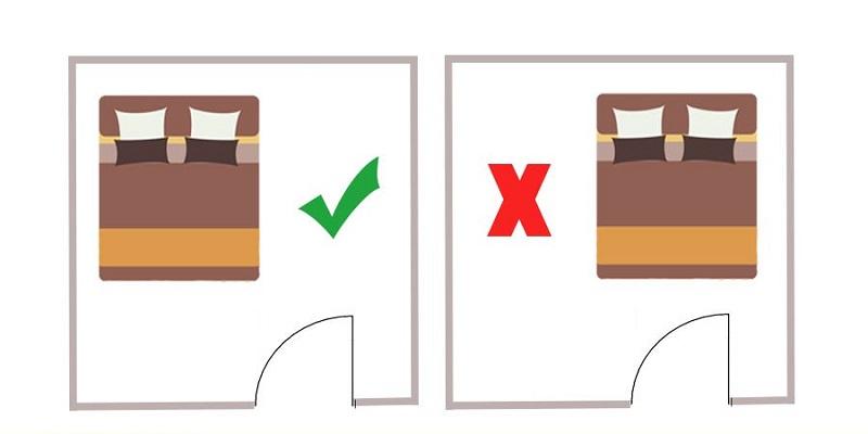 Những lưu ý khi kê giường ngủ theo phong thủy, không kê giường ngủ đối diện cửa ra vào