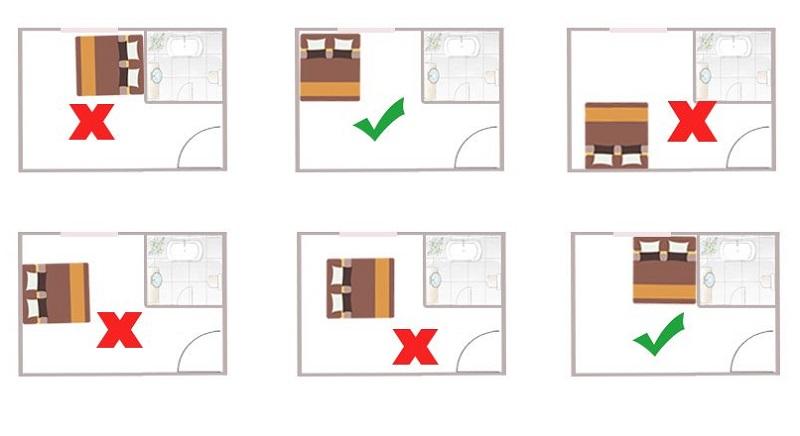 Hướng dẫn kê giường ngủ theo phong thủy, không kê giường ngủ gần nhà vệ sinh