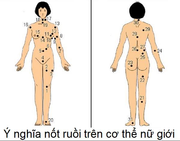 Nốt ruồi trên cơ thể phụ nữ, nốt ruồi trên cơ thể đàn bà, nốt ruồi trên cơ thể nữ giới