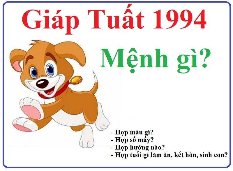 1994 mệnh gì, tuổi gì, hợp màu gì, số mấy, tuổi nào?