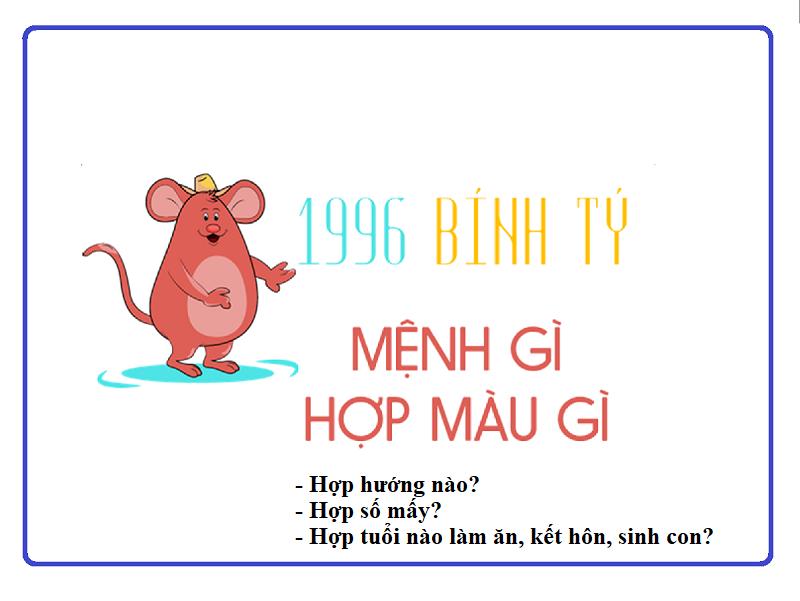 1996 mệnh gì, tuổi gì, hợp màu gì, hướng nào, số mấy?