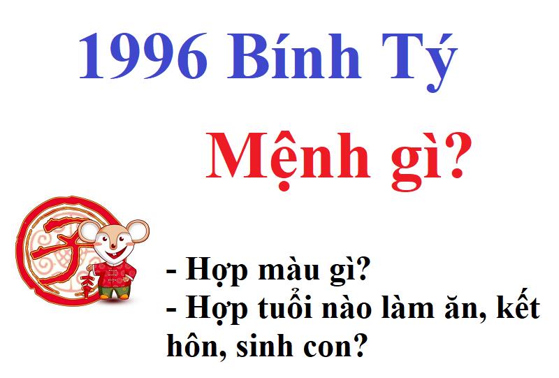 1996 mệnh gì, tuổi gì, hợp mệnh gì làm ăn, kết hôn, sinh con?