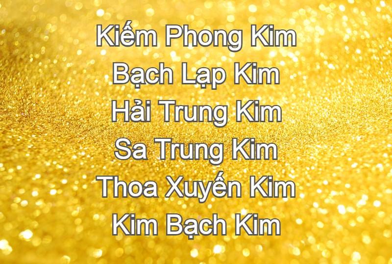 Các loại mệnh Kim, các nạp âm mệnh Kim, 6 loại mệnh Kim