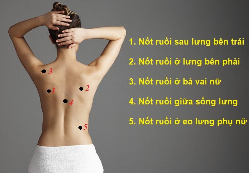 Nốt ruồi sau lưng phụ nữ, nốt ruồi ở lưng nữ nói lên điều gì?
